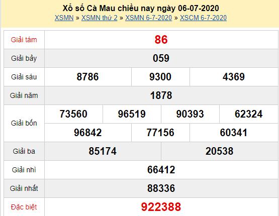 XSCM 6/7 - Kết quả xổ số Cà Mau hôm nay thứ 2 ngày 6/7/2020