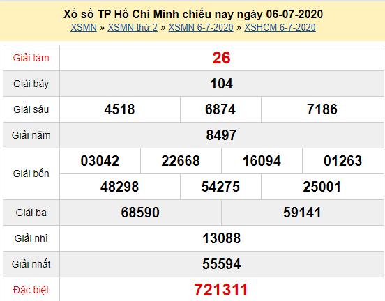 XSHCM 6/7 - Kết quả xổ số TP Hồ Chí Minh thứ 2 ngày 6/7/2020