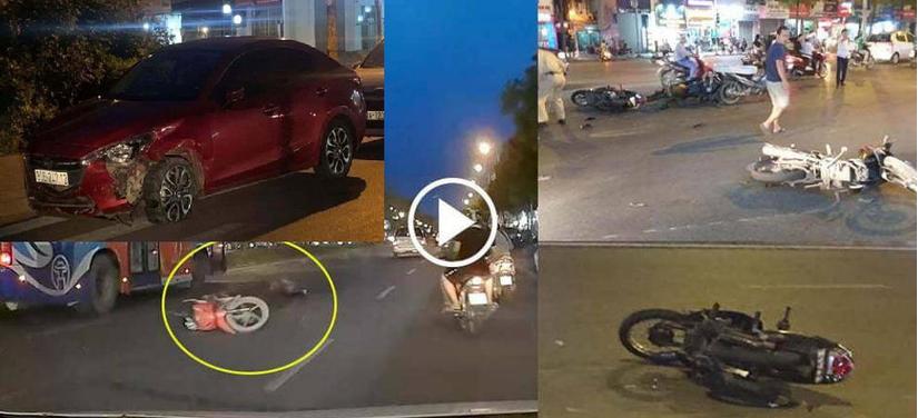 Đã bắt được tài xế xe Mazda tông liên hoàn hàng loạt xe máy chờ đèn đỏ