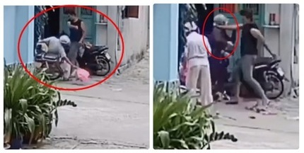 Phẫn nộ clip nam thanh niên hành hung cha mẹ già trước cửa nhà