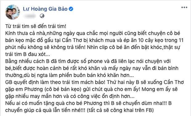 Gia Bảo cùng nghệ sĩ Việt chung tay giúp đỡ cô gái bán hàng rong bị ép ăn 10 cái kẹo
