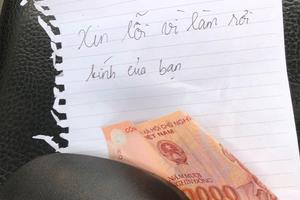 Lỡ làm hỏng gương xe, một sinh viên để lại 50 nghìn cùng mảnh giấy xin lỗi
