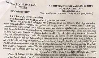 Đáp án đề thi môn văn vào lớp 10 của tỉnh Hưng Yên năm 2020