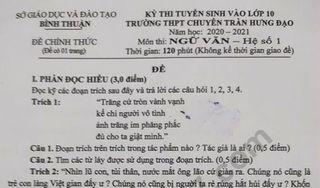 Đề thi môn Văn vào lớp 10 của tỉnh Bình Thuận năm 2020 - THPT Chuyên Trần Hưng Đạo