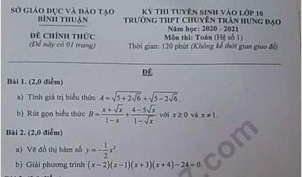 Đề thi môn Toán chung vào lớp 10 của tỉnh Bình Thuận năm 2020 - THPT Chuyên Trần Hưng Đạo