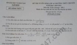 Đề thi vào lớp 10 Toán chung THPT Chuyên Lê Hồng Phong 2020