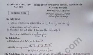 Đáp án đề thi Toán chuyên vào lớp 10 Nam Định năm 2020 - THPT Chuyên Lê Hồng Phong