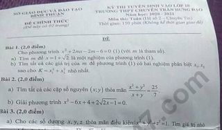 Đề thi môn Toán chuyên tin vào lớp 10 của tỉnh Bình Thuận năm 2020 - THPT Chuyên Trần Hưng Đạo