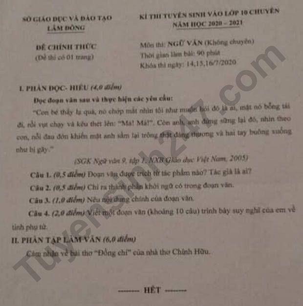 Đề thi văn lớp 10 Lâm Đồng