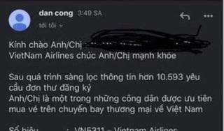 Giả mạo Vietnam Airlines mời chào khách mua vé máy bay về nước tránh dịch