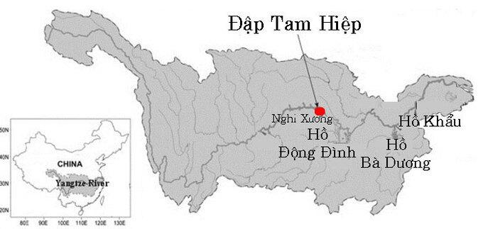 Vị trí hồ Bà Dương ở hạ lưu đập Tam Hiệp của Trung Quốc.