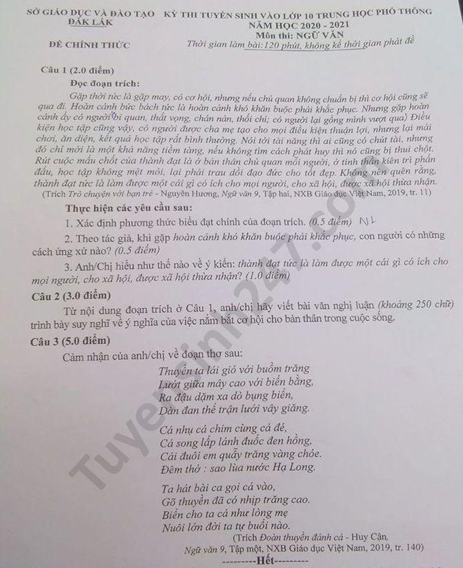 Đáp án đề thi môn Ngữ Văn vào lớp 10 THPT tỉnh Đắk Lắk năm 2020