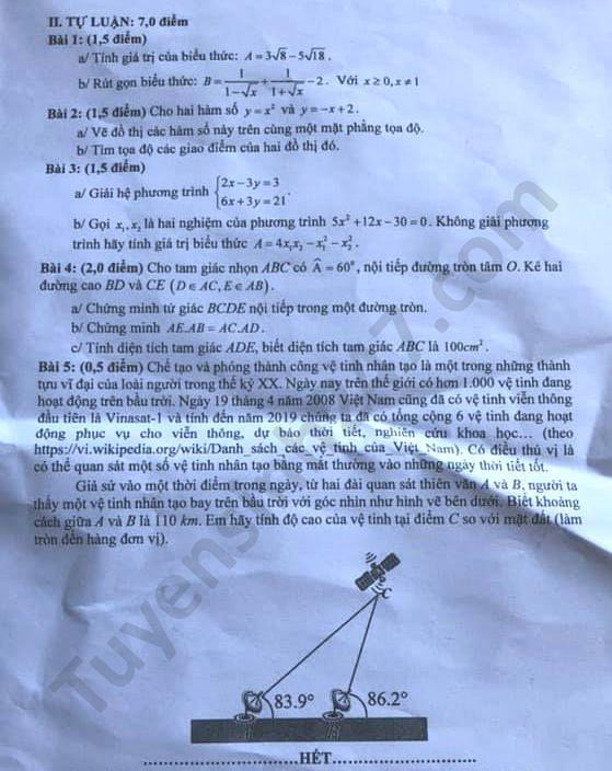 Đáp án đề thi môn Toán vào lớp 10 THPT tỉnh Kiên Giang năm 2020