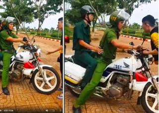 Đình chỉ công tác cảnh sát trật tự bị tố lao xe vào người vi phạm