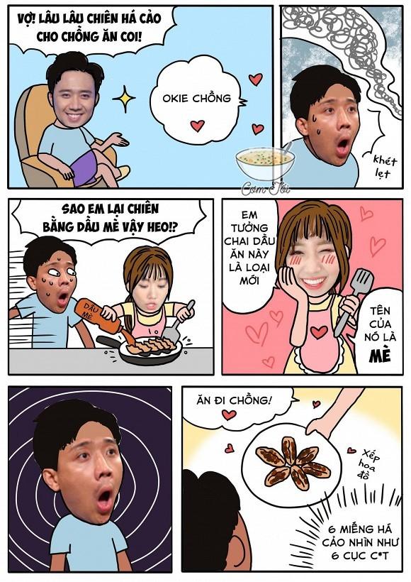 Dân mạng cười bò với bức ảnh chế về câu chuyện chiên há cảo khét của vợ chồng Trấn Thành - Hari Won