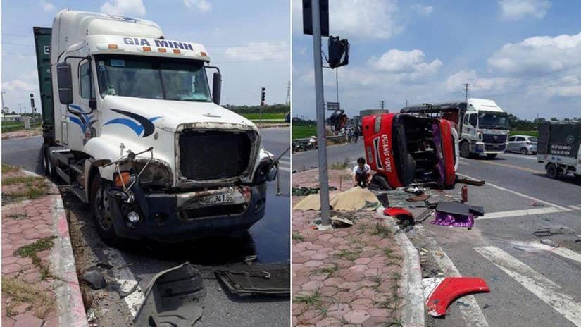 Va chạm với xe container, 2 người tử vong tại chỗ