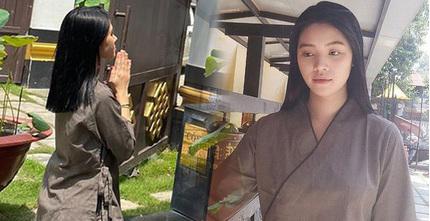 Sau ồn ào liên quan đến đường dây bán dâm, Hoa hậu Jolie Nguyễn chia sẻ hình ảnh tiều tuỵ đi lễ chùa
