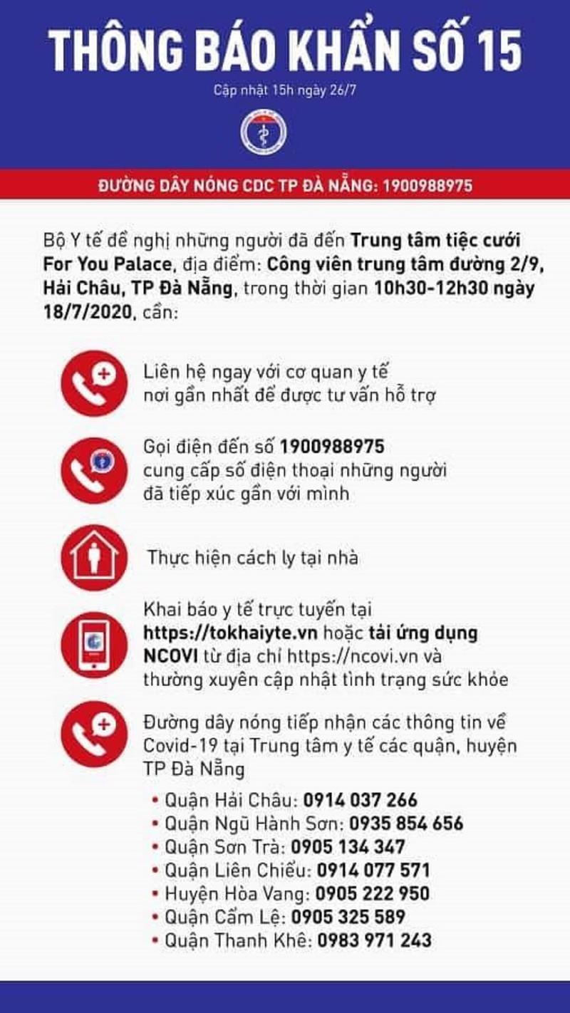 Thông báo khẩn của Bộ Y tế ngày 26/7 về Trung tâm tiệc cưới For You Palace