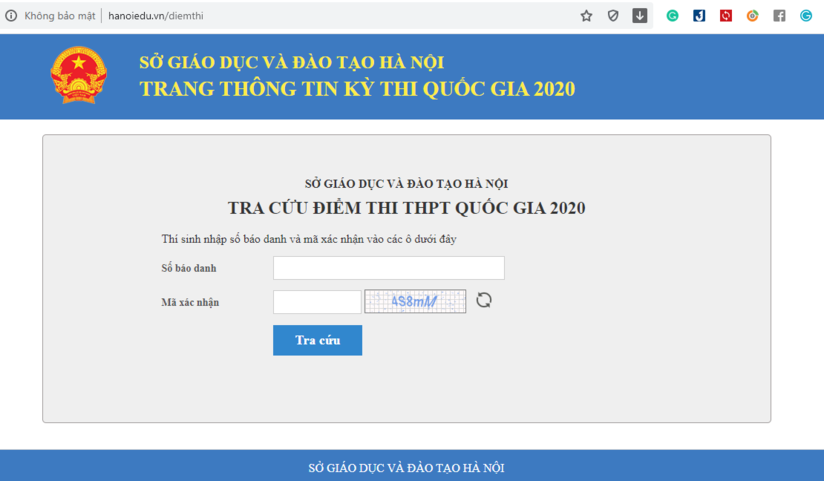 Tra cứu điểm thi vào lớp 10 THPT của Hà Nội 2020