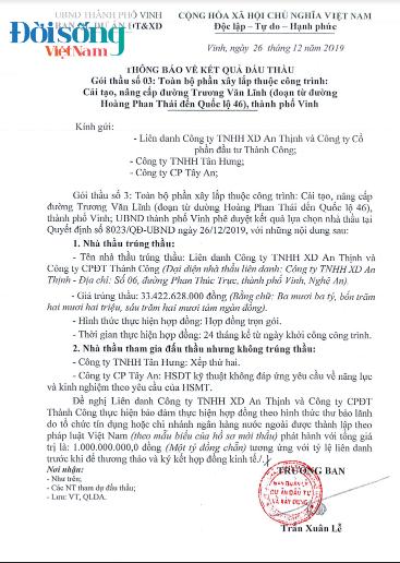 TP. Vinh, Nghệ An: Hàng trăm tỉ đồng vốn đầu tư công được sử dụng thế nào?