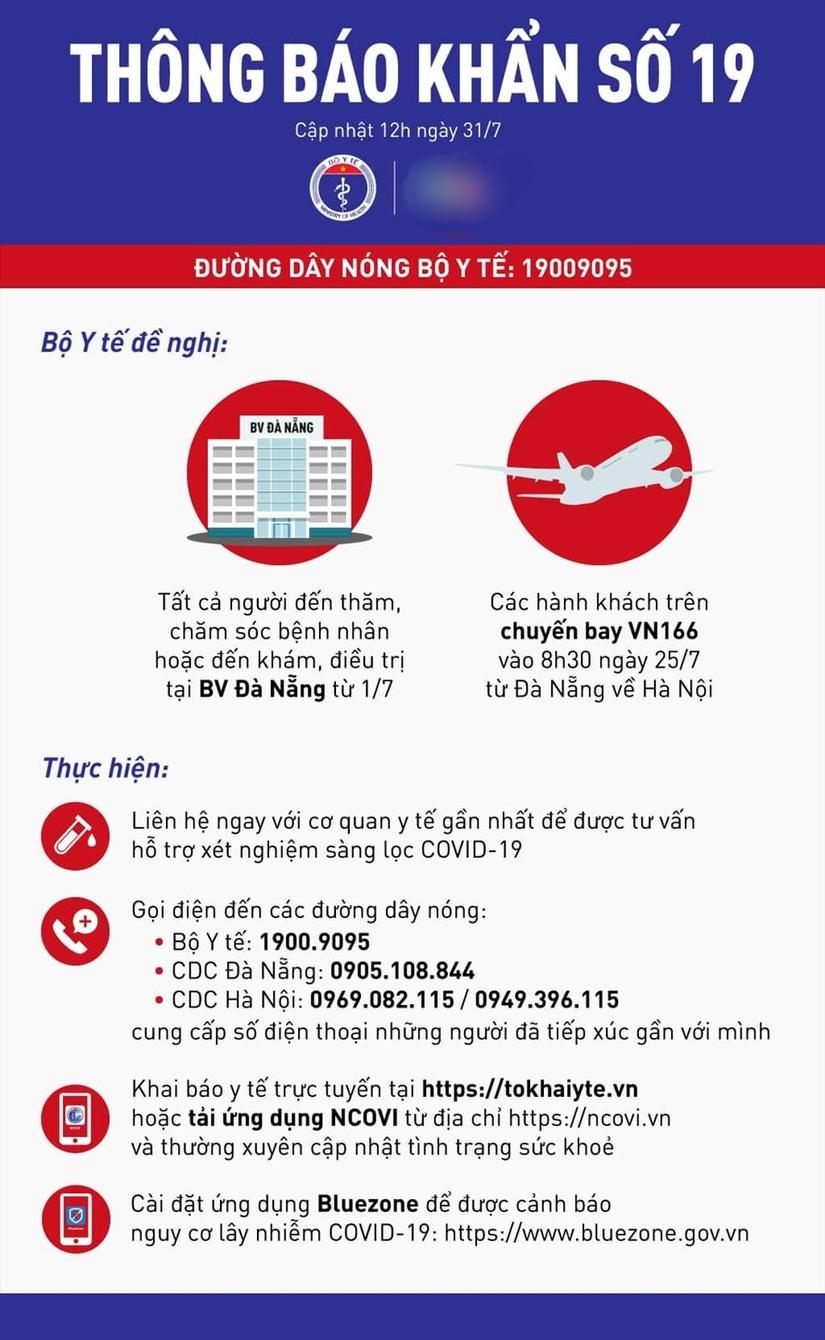 Bộ Y tế phát đi thông báo khẩn số 19 về chuyến bay VN166 Đà Nẵng- Hà Nội