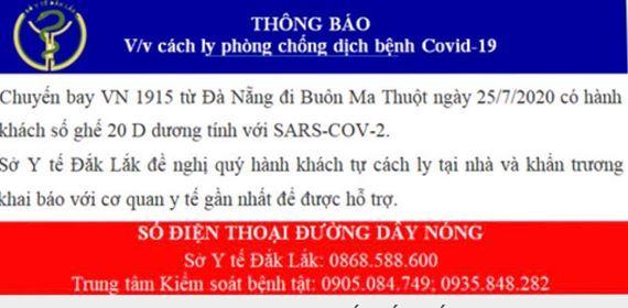 Tìm hành khách trên chuyến bay từ Đà Nẵng về Buôn Ma Thuột ngày 25/7