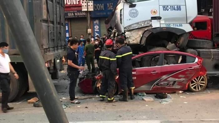 Kết quả kiểm tra nồng độ cồn tài xế container đè nát bét xe con khiến 3 người thiệt mạng