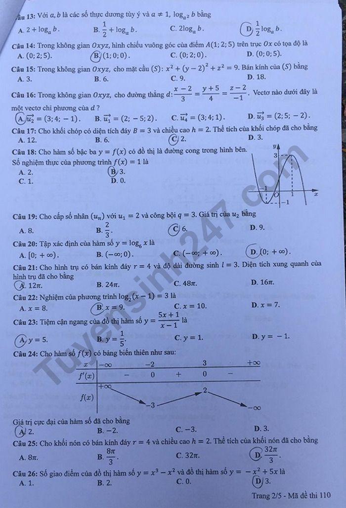 mã đê 110 môn toán 2