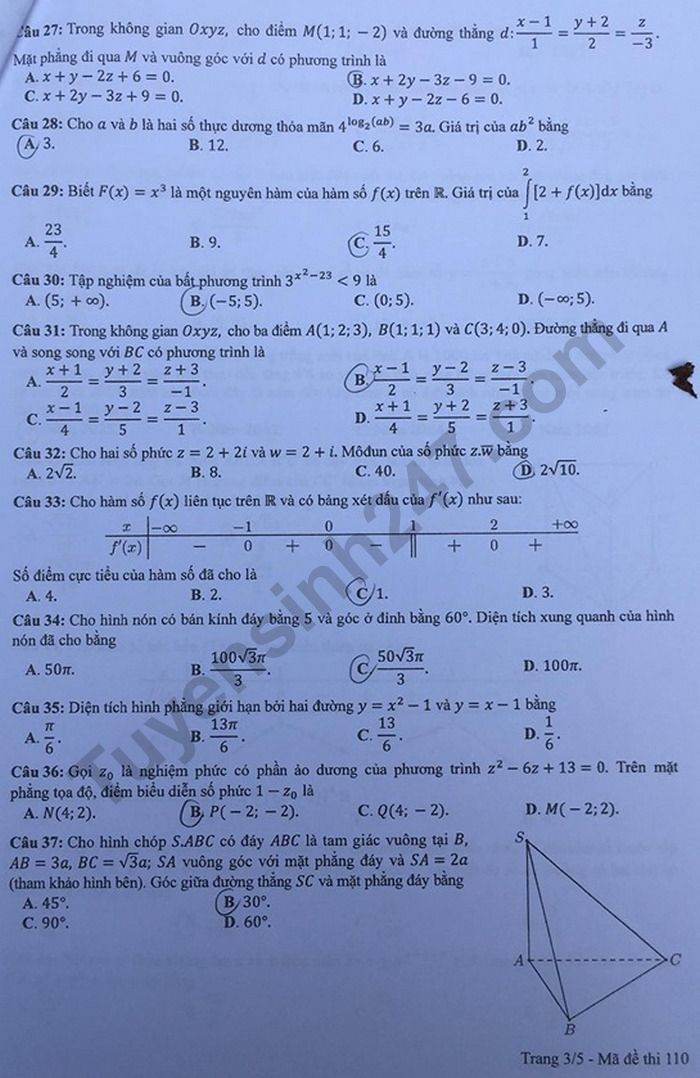 mã đề 110 môn toán 3