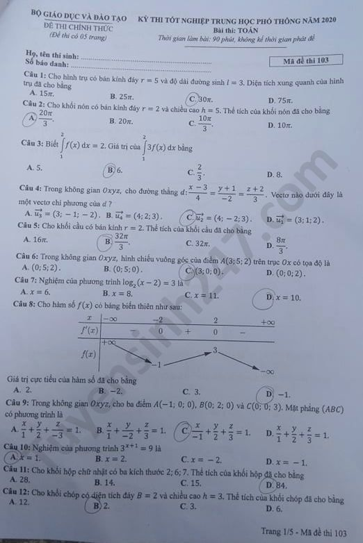 mã đề 103 môn toán