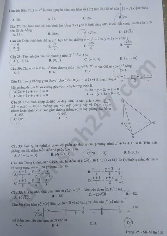 mã đề 103 môn toán 3