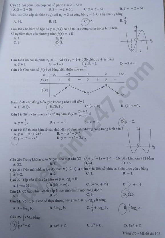 mã đề 103 môn toán 2