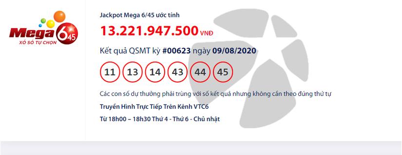 Kết quả xổ số Vietlott Mega 6/45 hôm nay chủ nhật ngày 9/8/2020: