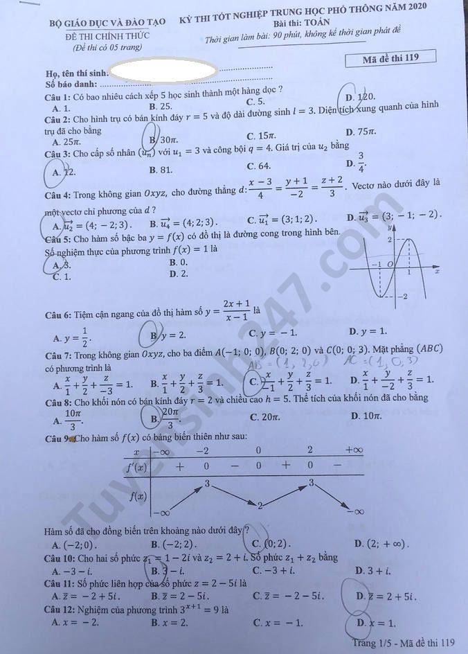 mã đề 119 đề thi môn Toán