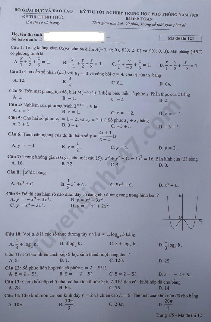 chi tiết mã đề 121 đề thi môn Toán