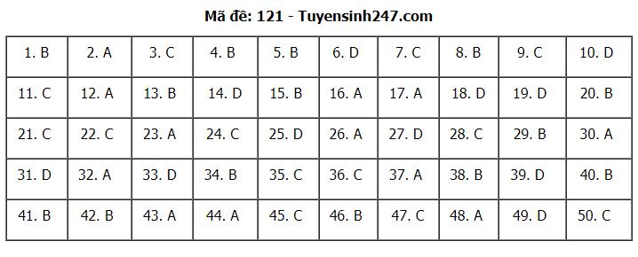 Gợi ý Đáp án đề thi môn Toán mã đề 121