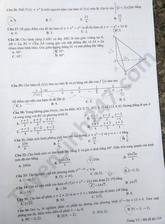 mã đề 124 đề thi môn Toán 3