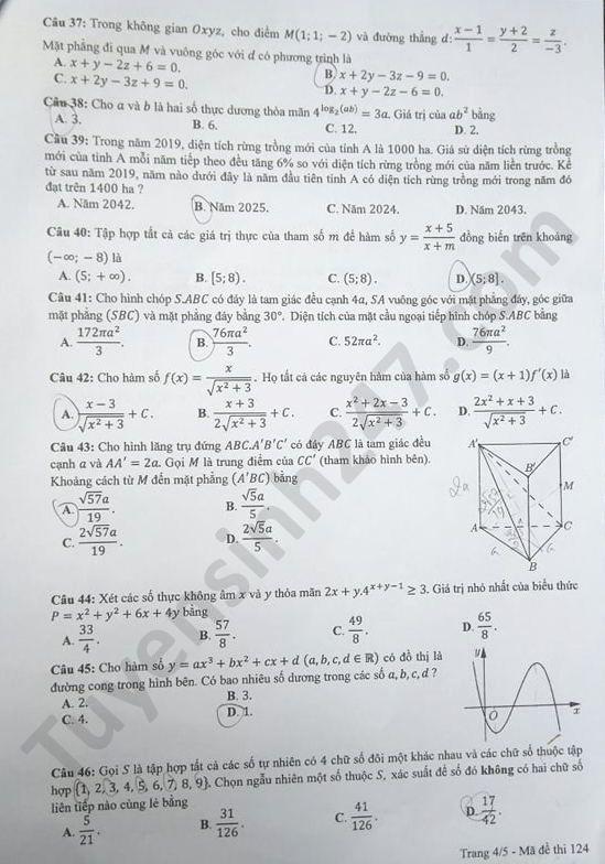 mã đề 124 đề thi môn Toán4
