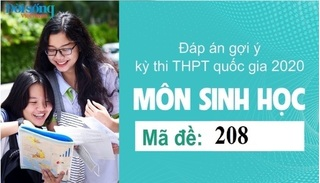 Đáp án đề thi môn Sinh học mã đề 208 kỳ thi THPT Quốc Gia 2020
