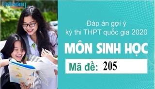 Đáp án đề thi môn Sinh học mã đề 205 kỳ thi THPT Quốc Gia 2020