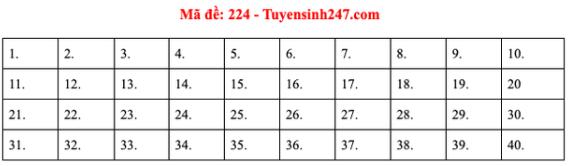 Đáp án đề thi môn Lý mã đề 224 kỳ thi THPT Quốc Gia 20202