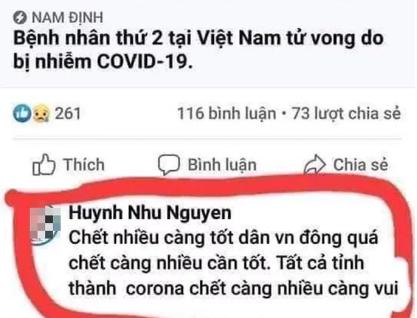 Vợ cũ lập Facebook có hình vợ mới và chồng cũ bình luận phản cảm về dịch Covid-19