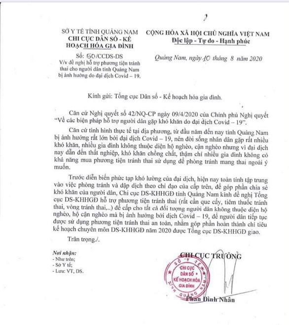 Thiếu phương tiện tránh thai mùa Covid-19, Quảng Nam 'cầu cứu' Tổng cục dân số