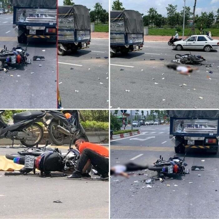 Hiện trường vụ TNGT tông vào đuôi ô tô tải dừng chờ đèn đỏ, nam thanh niên đi xe máy tử vong tại chỗ