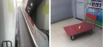 Xe đẩy hàng tuột từ trên thang cuốn siêu thị xuống tông người phụ nữ tử vong