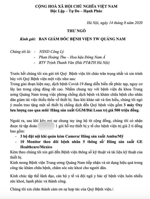 Hoa hậu Phan Hoàng Thu, NSND Công Lý và MC Thanh Vân ủng hộ 3 máy oxy giá 500 triệu cho Quảng Nam