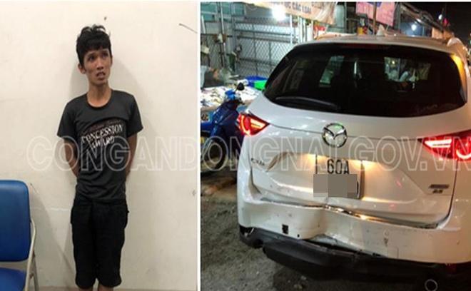 CSGT truy đuổi thanh niên trộm ô tô, tông vào xe lực lượng chức năng