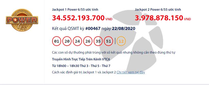 Kết quả xổ số VIETLOTT POWER 6/55 hôm nay thứ 7 ngày 22/8/2020