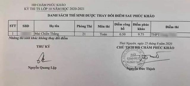 Sau phúc khảo một bài thi Toán vào lớp 10 ở Thái Nguyên tăng 9,25 điểm