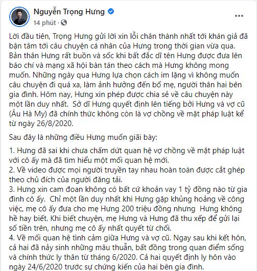 Trọng Hưng chính thức thông báo ly hôn Âu Hà My